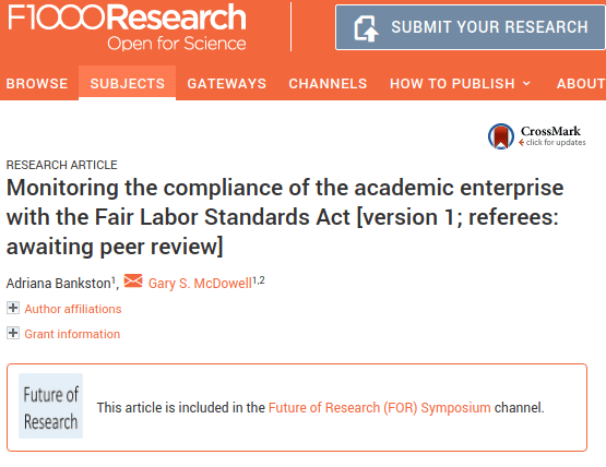 Publication presenting our data on the Fair Labor Standards Act implementation at institutions as of October 31st.