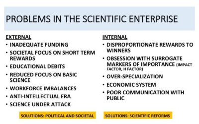 Crisis in biomedical science: time for a change? Notes on a talk by Arturo Casadevall