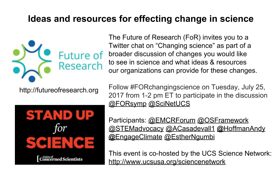 """Changing Science"" Twitter Chat with the Union of Concerned Scientists – July 25th 1-2pm EDT"