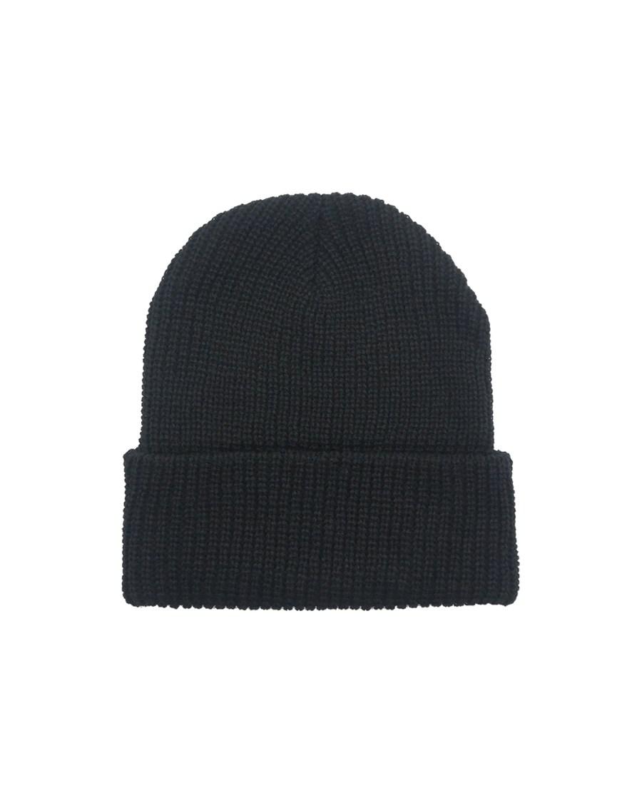 Black Rib Knit Beanie