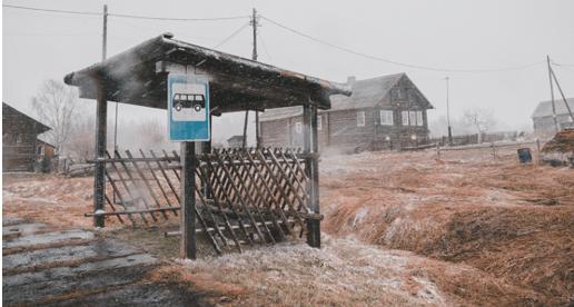 Rural bus stop in winter