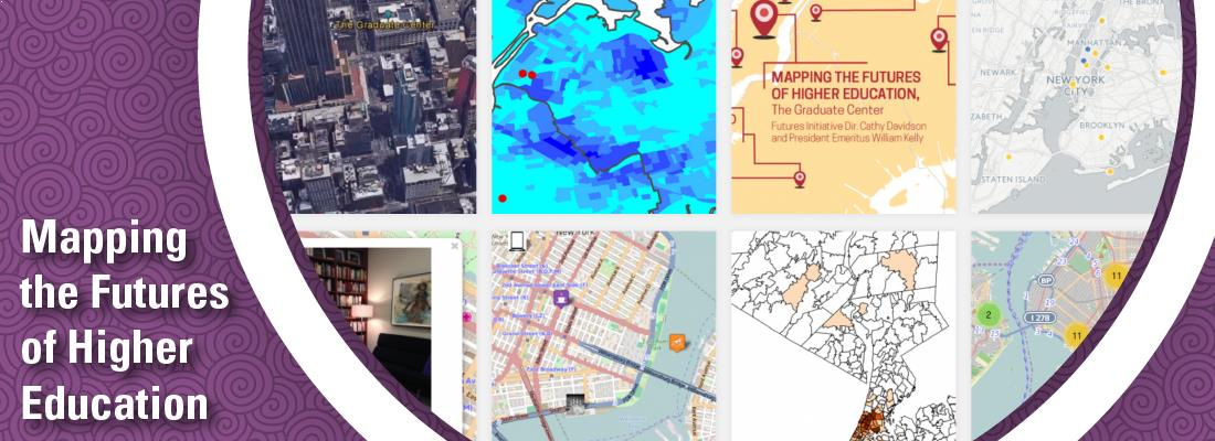 Mapping the Futures of Higher Education; Images of different mapping projects showing different ways to map how Graduate Center students are connected to other CUNY schools.
