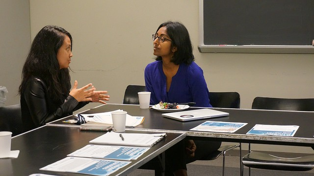 Kitana ANanda speaking with a workshop participant