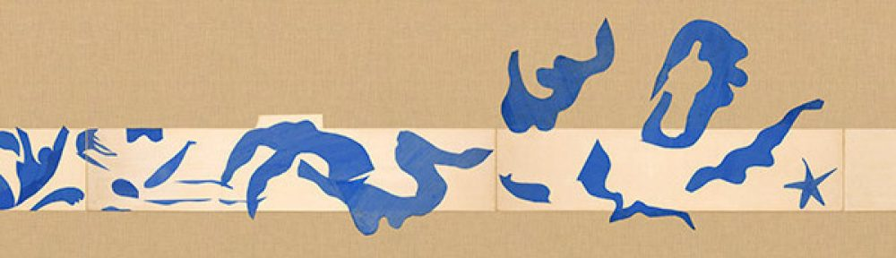 detail from Matisse's swimming pool cut out, abstract blue figures against burlap