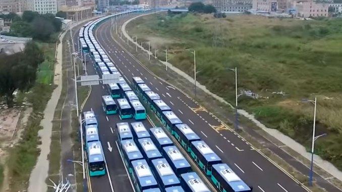 Shenzhen eletrifica 100% de sua frota de ônibus