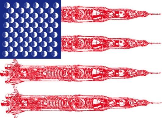 US FLAG MOON