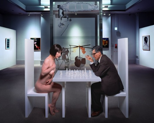 Yasumasa Morimura, 'Self-portrait as Marcel Duchamp with Yoko Ono white pieces', 2010