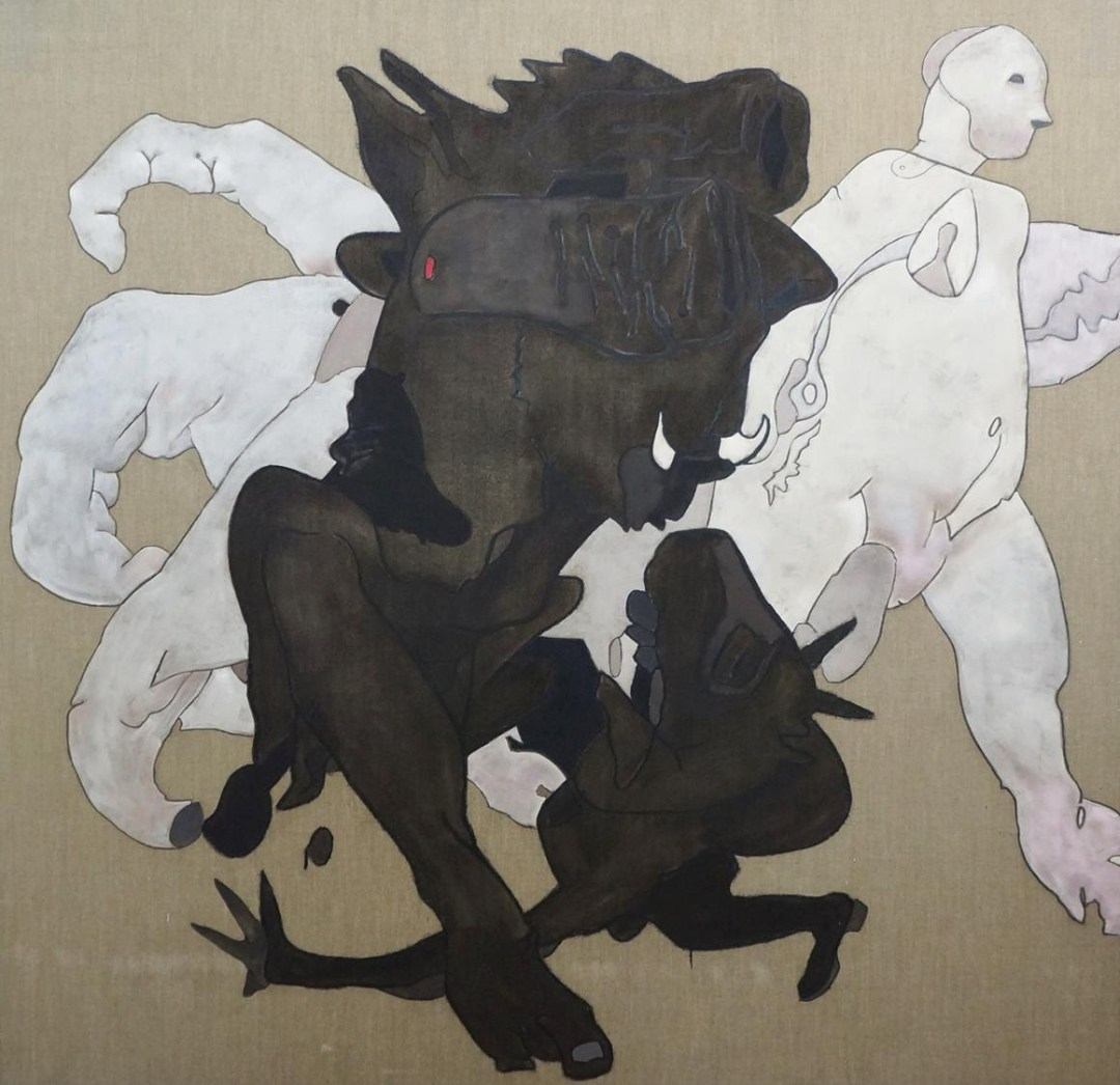 Horasan, 2014, Untitled, oil, acrylic, charcoal and wax on canvas, 189.5 x 196 cm