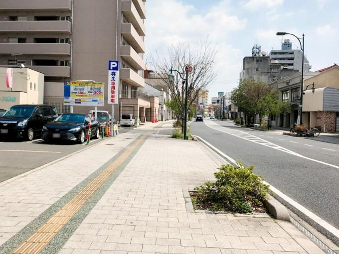 長いち:店頭の道路 西(福山駅方面)から東
