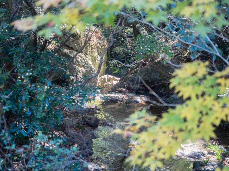 血洗の滝・血洗滝神社:駐車場付近から滝の上側を見る