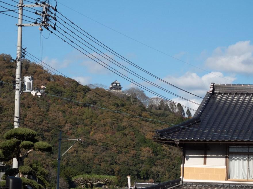 鳥の巣:店頭から見える茶臼山城の模擬天守