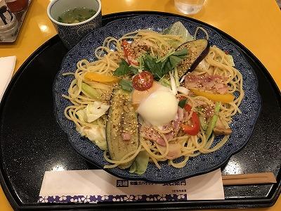 右衛門のパスタ-イベリコ豚と夏野菜づくしのよくばりスパゲッティー