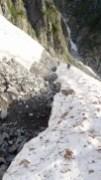 ⑤雪渓を渡り