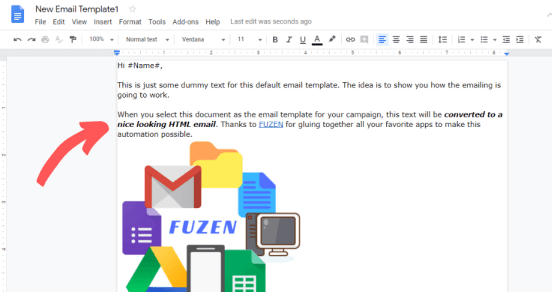 HTML email marketing template within Google Doc + Gmail