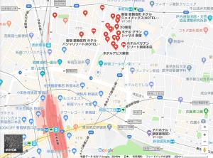 Googleマップで新宿のラブホを検索