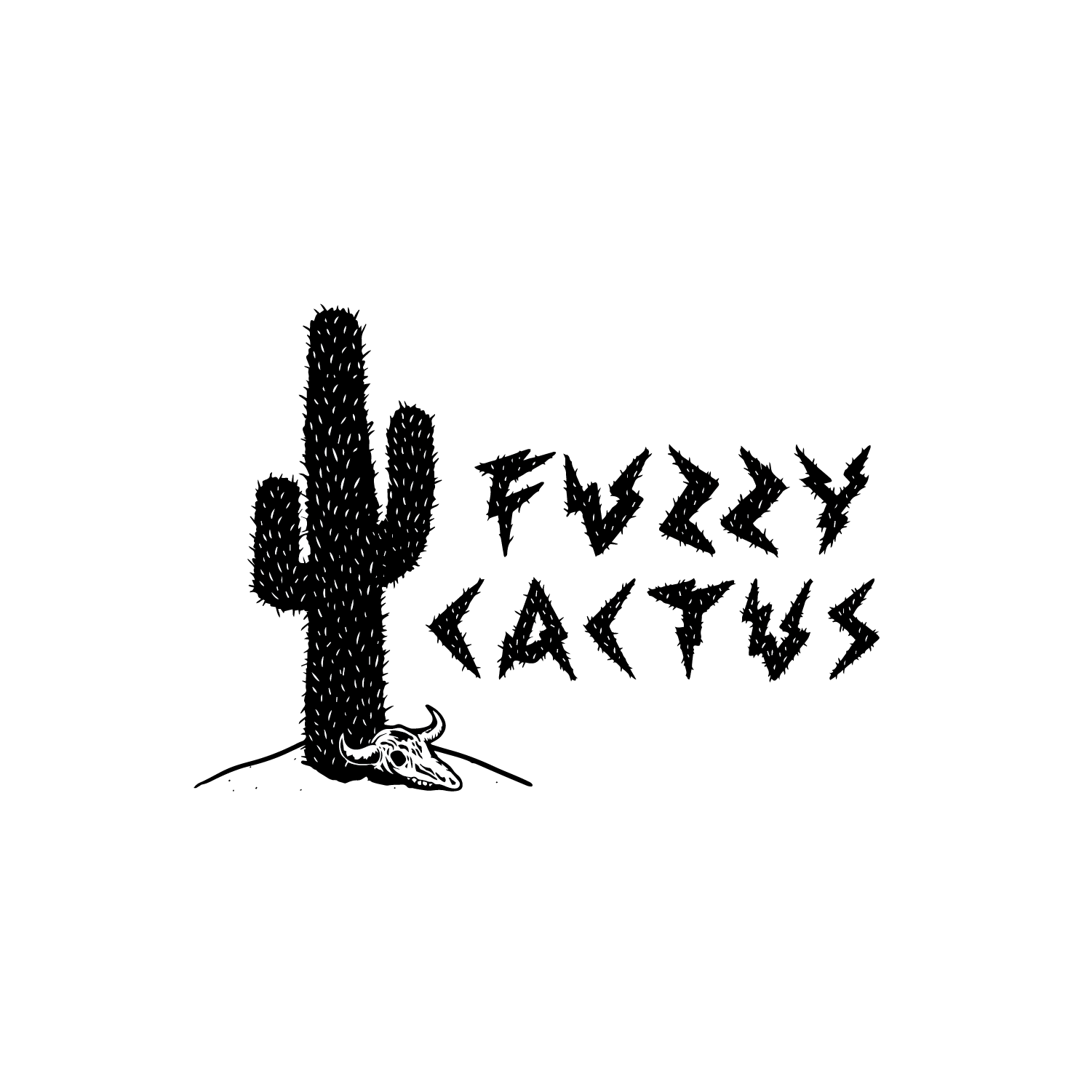 a cactus with a cow skull on a small pile of sand with the words Fuzzy Cactus