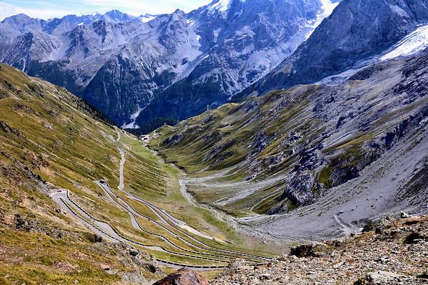 Looking down at the Stelvio Pass