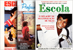 Before NOVA ESCOLA, Editora Abril had released two titles geared towards teachers: Escola, in 1972, and Professora Querida, in 1983. The images show the two titles' first covers, and the first copy of NOVA ESCOLA, 1986