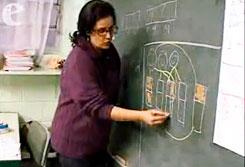Priscila Monteiro, formadora do projeto Matemática é D+, ensinando problemas com frações