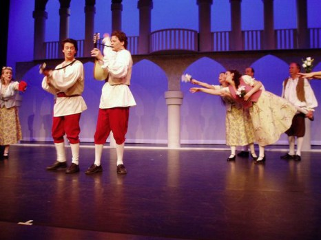 Giuseppe (Dann Wilhelm) and Marco (Angus Stuart) serenade the women of Venice.