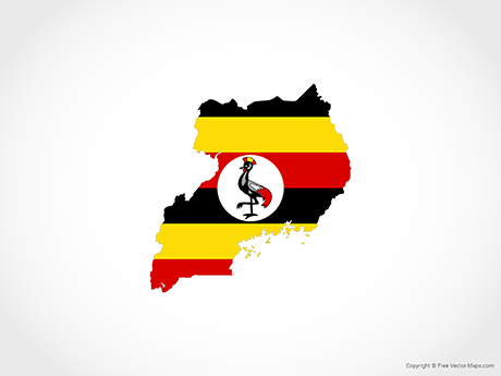 Vector Map of Uganda   Flag   Free Vector Maps Free Vector Map of Uganda   Flag