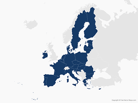 Vector Map of European Union with Member States   Free Vector Maps Free Vector Map of European Union with Member States