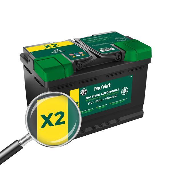 batterie feu vert start stop x2 70ah 720a 12v