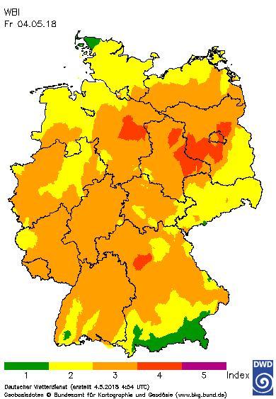 Waldbrand-Gefahrenindex vom 04.05.18