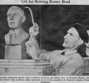 President Woodrow Wilson, commissioned by the Rotary Club for retiring president Daniel L. Marsh. Portrait bust in clay. Sculptor Frederick Warren Allen, 1940.