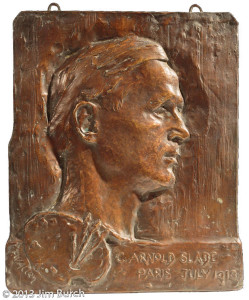 Bas-relief portrait, 13.5 in x 11.25 in, Cast in plaster and bronze, Exhibited at the Guild of Boston Artists 1913