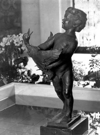Duck Boy bronze fountain figure by Frederick Warren Allen, Sculptor, 1924. Purchased by Guy Lowell for the Santa Barbara estate of Cornelius Billings.