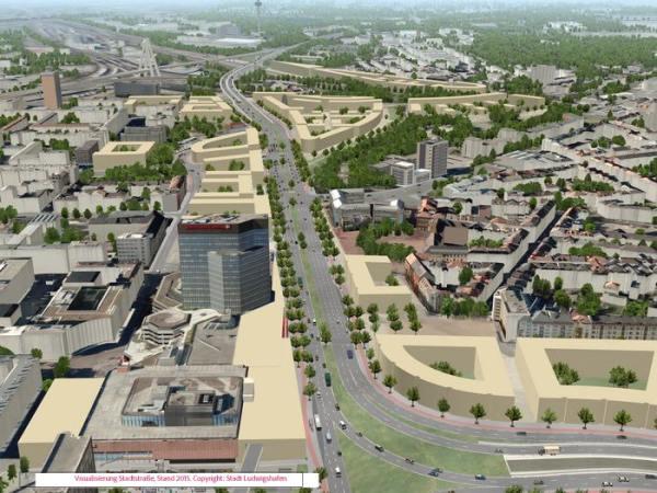 Visualisierung Stadtstraße, Stand 2015. Copyright: Stadt Ludwigshafen