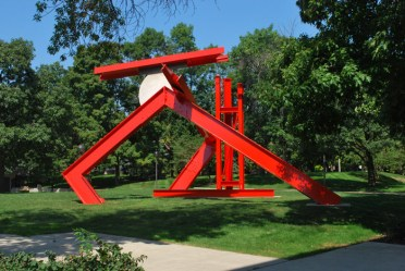 Helmholtz, pre-crash. The outdoor sculpture is an abstracted form in red.
