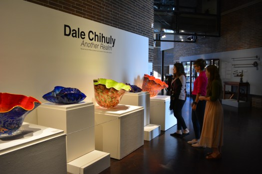 An exhibition look at the new Chihuly exhibition on display in the hallway at FWMoA.