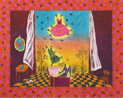 Showing the inside of a room with a window that takes up one side of an entire wall, on the green and orange checkerboard floor is a trunk, a chair, and a side table with a mirror hung above it. Floating out of the trunk with the help of birds are three dresses, from bottom, purple, green, and pink. They go into the setting sun, as a breeze blows the white curtains back from inside.