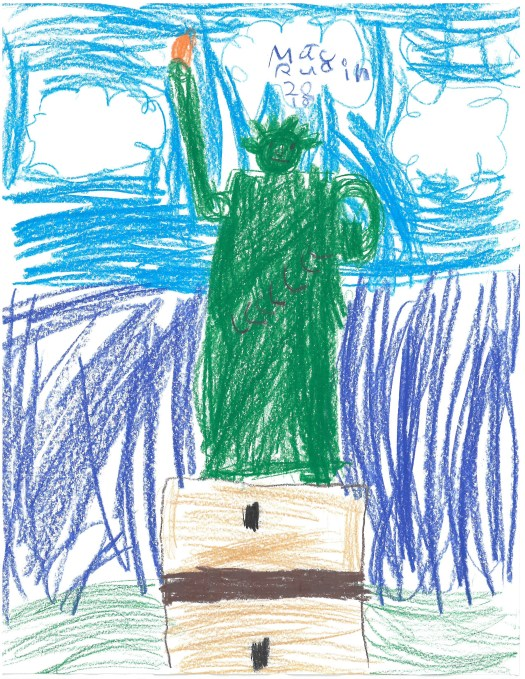 A children's drawing of the Statue of Liberty against a blue sky.
