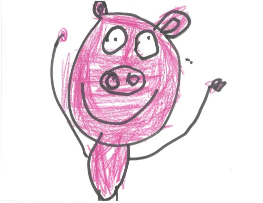 A child's drawing of a pink pig.