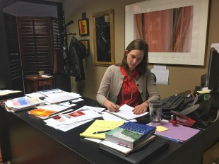 Amanda Shepard sits at her desk in her office at FWMoA.