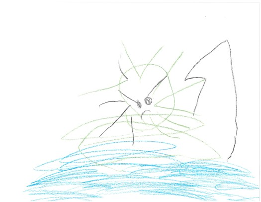 A child's drawing of a green, angry spider over what looks like a body of blue water.