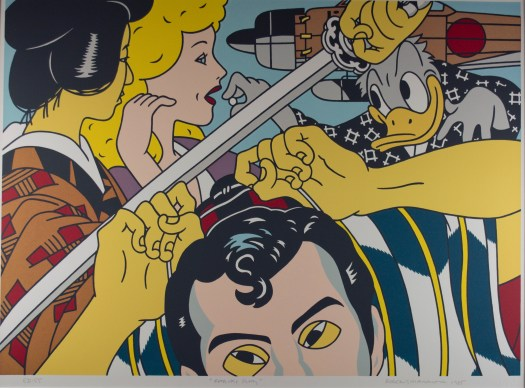 Shimomura's style is comic book-like. In the foreground is half of an Asian man's head, his hands up on top of his head. Right above him a sword descends, as if his hands are blocking the blow. Behind him is an Asian woman in traditional dress and a white woman with yellow hair. In the very back, Donald Duck offers the woman a white pill as a bullet or rocket goes off behind him.