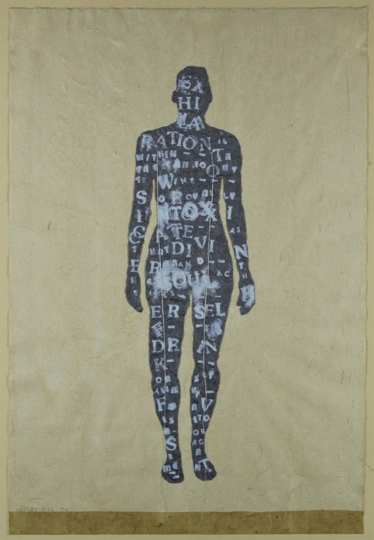 """A black, figural form stands in the center of a paper-colored background. On the figure is white writing from Emily Dickinson's poem """"Exhilaration is Within"""". Hanging from the shoulders are two pieces of white string."""