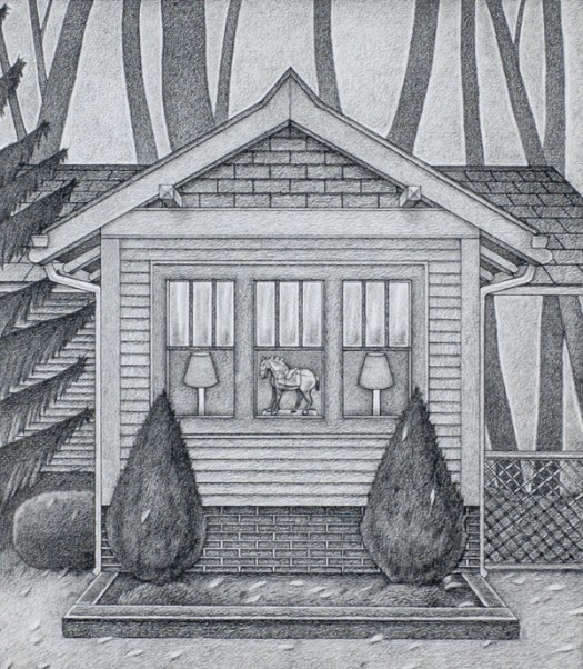 A study for the finished painting, this pencil sketch zooms in on a window in a house surrounded in the background by trees. The three windows show, left to right, a lamp and shade; a horse figurine; and the same lamp and shade. The windows are framed by two bushes outside.