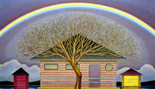 A landscape painting shows a house with a large tree in front, framed overhead by a rainbow against a dark blue/purple sky. On either side of the house are tiny garages.