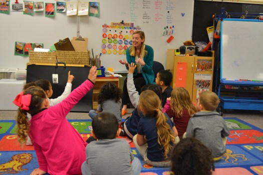A FWMoA educator speaks to a Pre-K classroom.