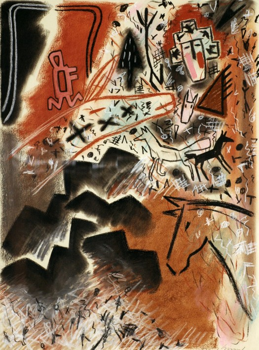 Another abstract work with symbols of Native American life including horses and coyotes.