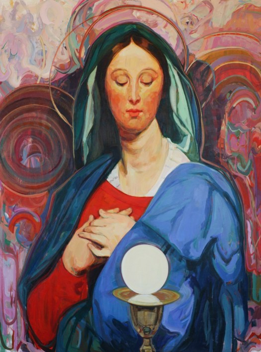 In the style of Ingres, Mary looks down at the host, glowing like an orb. She wears a blue cloak and red dress, set against a colorful, abstract background.