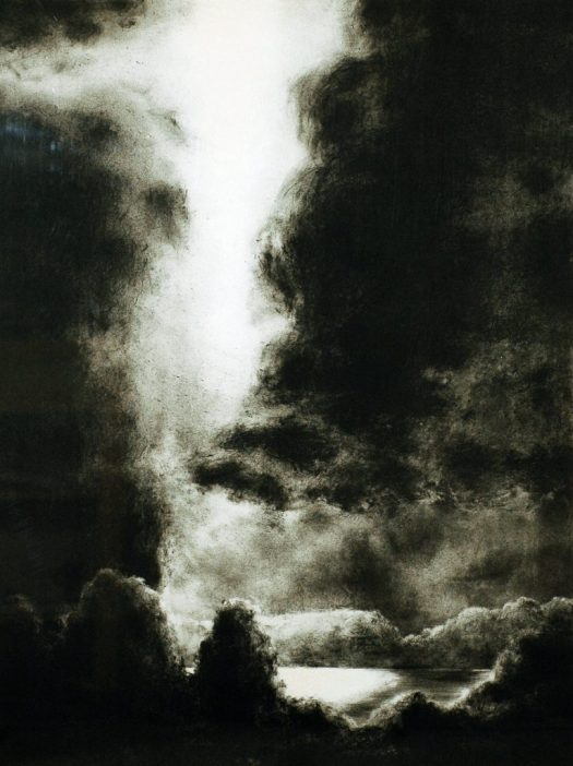This lithograph depicts a roiling storm.The blackness of the composition is cut through, at the center, by a source of light. The source of light is unknown, but it slices through the puffy, mountainous clouds from the top to the bottom of the print.
