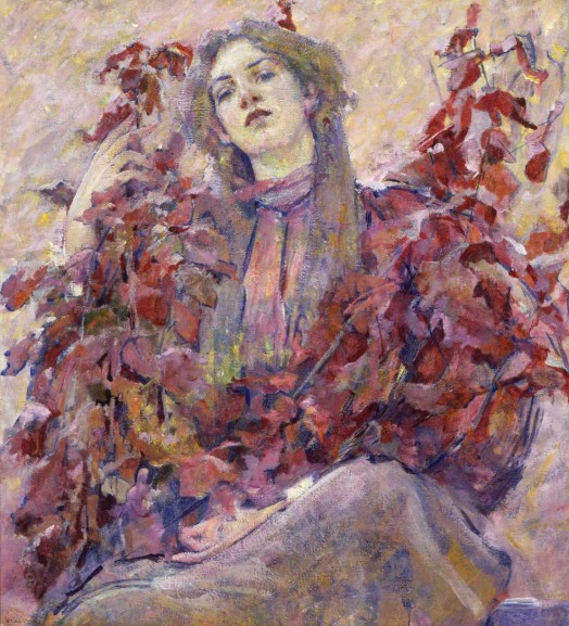 A portrait of a woman sitting, in a purple dress, her eyes downcast toward the viewer. She holds bunches of sticks with leaves and blends in with the colorful background.