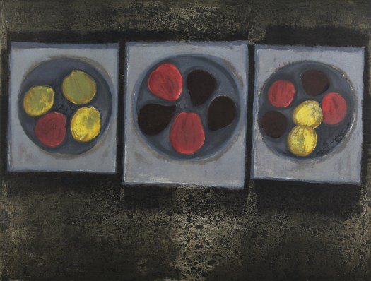 This more abstracted print shows three grey circles atop three white squares, all on a dark, black background. Atop the circles, as if plates on napkins on a table, rest colorful circles that may be fruits, as the title suggests. Red, yellow, and black, they are the most colorful piece of the print.