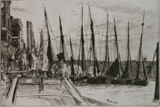 In this etching by Whistler, the foreground is taken up by a dock with people standing and sitting as boats come in on the tide. We can make out tiny people on the incoming boats and one far off in the distance heading back to sea. On the right hand side is the city with tall buildings extending into the background. The sky is cloudy and meets the churning sea.